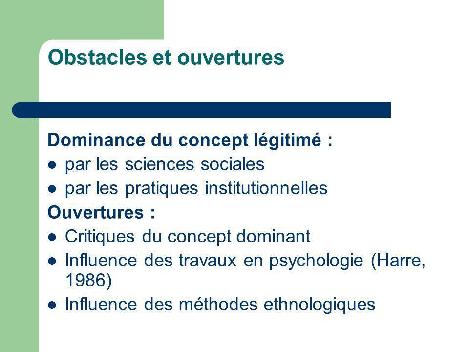 Obstacles et ouvertures Dominance du concept légitimé : par les sciences sociales par les pratiques institutionnelles Ouvertures : Critiques du concep