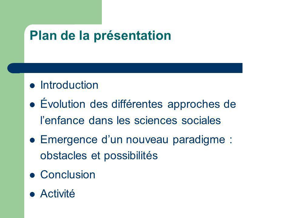 Plan de la présentation Introduction Évolution des différentes approches de lenfance dans les sciences sociales Emergence dun nouveau paradigme : obst