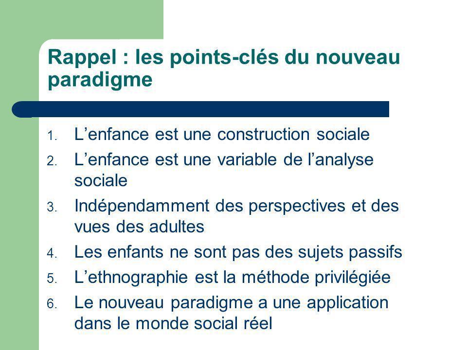 Rappel : les points-clés du nouveau paradigme 1. Lenfance est une construction sociale 2. Lenfance est une variable de lanalyse sociale 3. Indépendamm