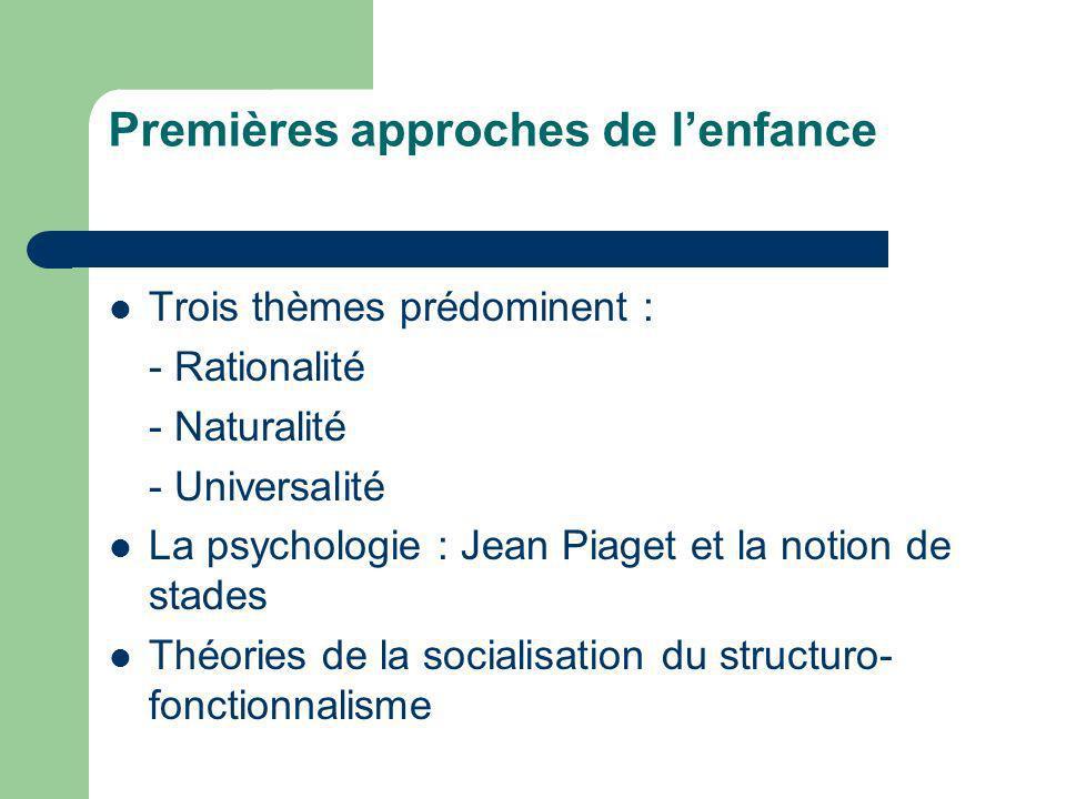 Premières approches de lenfance Trois thèmes prédominent : - Rationalité - Naturalité - Universalité La psychologie : Jean Piaget et la notion de stad