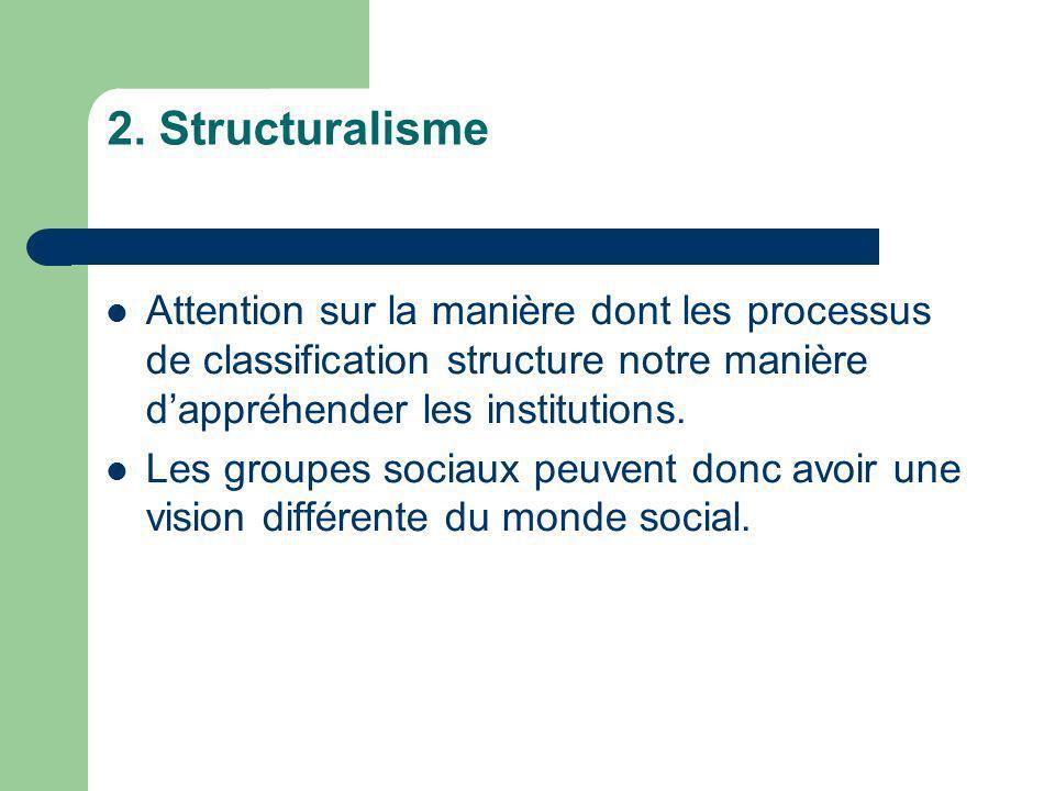 2. Structuralisme Attention sur la manière dont les processus de classification structure notre manière dappréhender les institutions. Les groupes soc