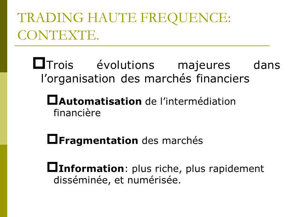 TRADING HAUTE FREQUENCE: CONTEXTE.