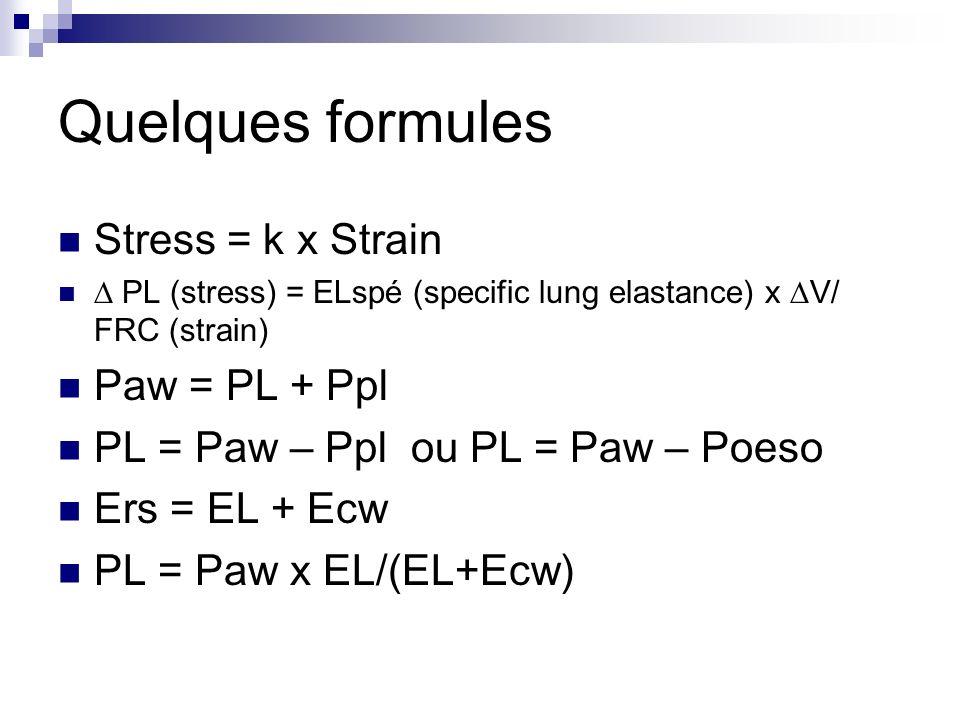 Quelques formules Stress = k x Strain PL (stress) = ELspé (specific lung elastance) x V/ FRC (strain) Paw = PL + Ppl PL = Paw – Ppl ou PL = Paw – Poes