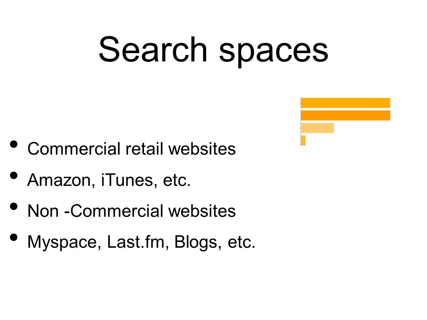 Search spaces Commercial retail websites Amazon, iTunes, etc. Non -Commercial websites Myspace, Last.fm, Blogs, etc.