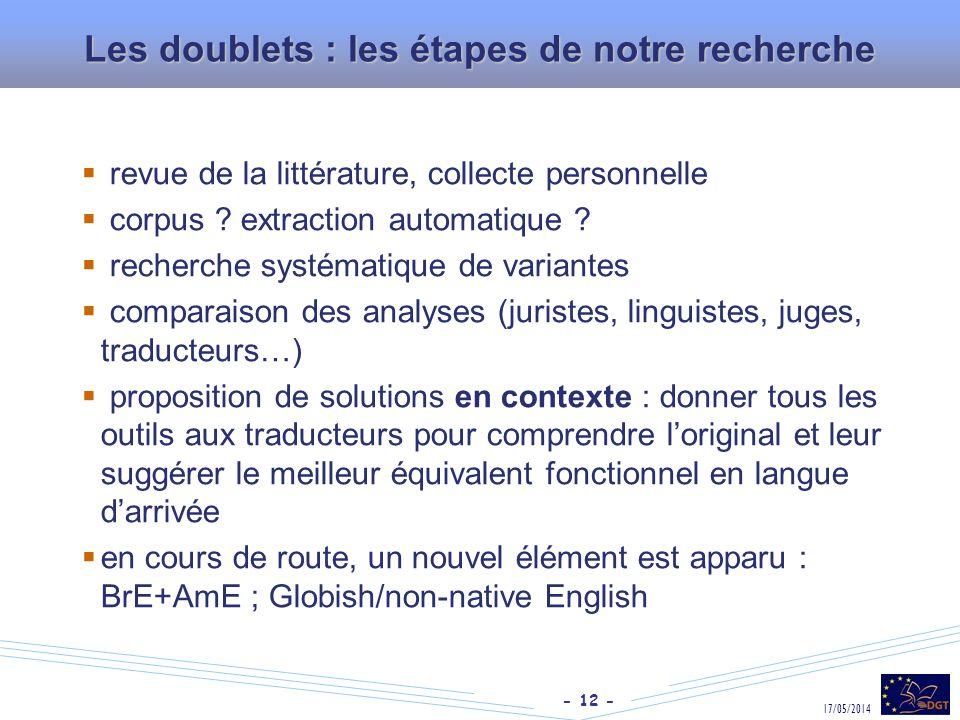 - 12 - 17/05/2014 Les doublets : les étapes de notre recherche revue de la littérature, collecte personnelle corpus ? extraction automatique ? recherc