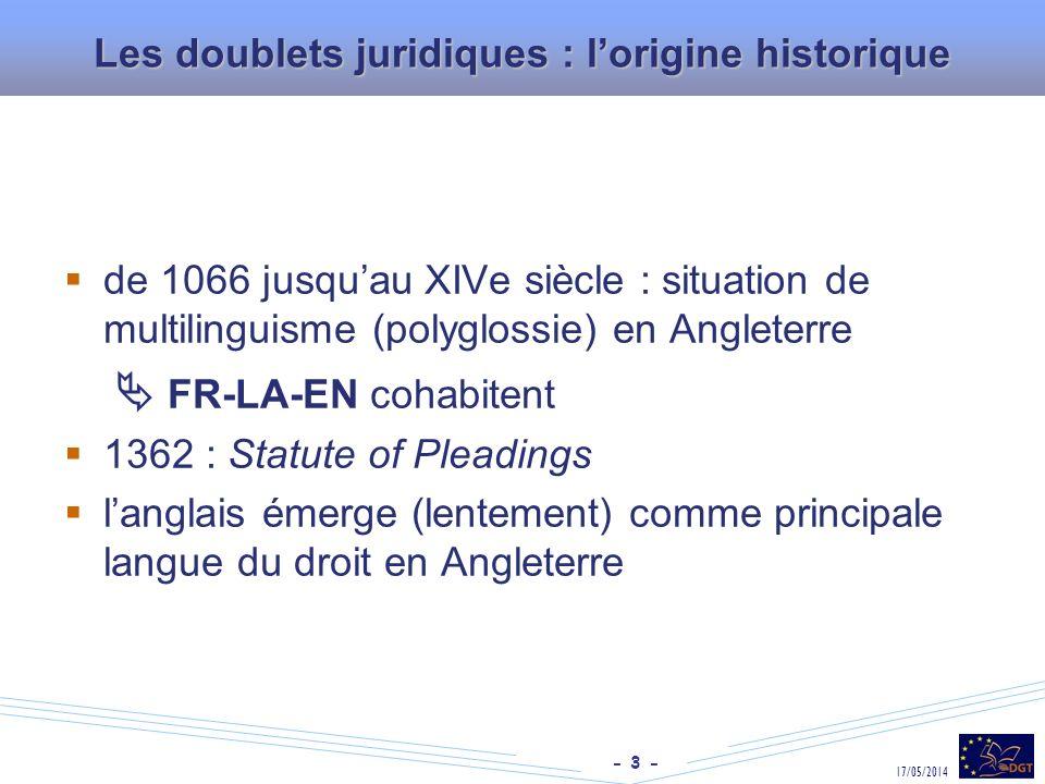 - 3 - 17/05/2014 Les doublets juridiques : lorigine historique de 1066 jusquau XIVe siècle : situation de multilinguisme (polyglossie) en Angleterre F