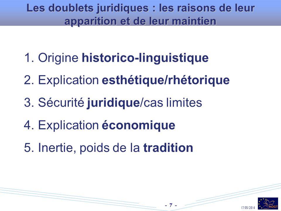 - 7 - 17/05/2014 Les doublets juridiques : les raisons de leur apparition et de leur maintien 1. Origine historico-linguistique 2. Explication esthéti