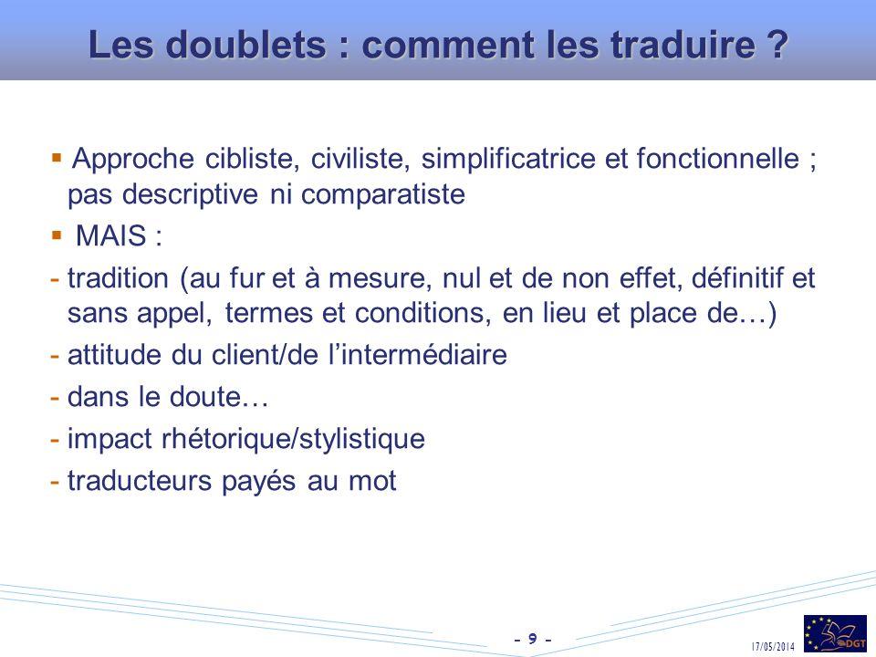 - 9 - 17/05/2014 Les doublets : comment les traduire ? Approche cibliste, civiliste, simplificatrice et fonctionnelle ; pas descriptive ni comparatist