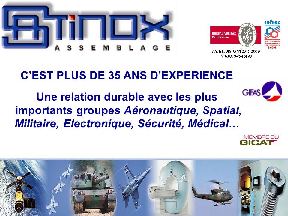 CEST PLUS DE 35 ANS DEXPERIENCE Une relation durable avec les plus importants groupes Aéronautique, Spatial, Militaire, Electronique, Sécurité, Médical…