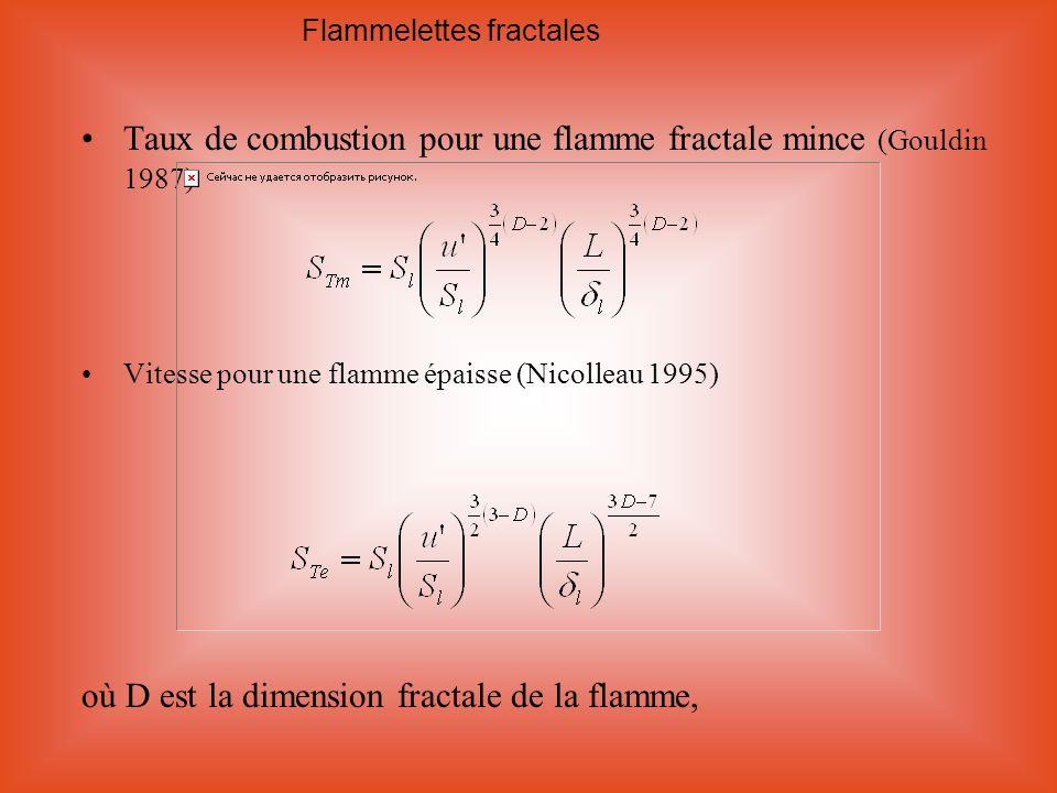 Taux de combustion pour une flamme fractale mince (Gouldin 1987) Vitesse pour une flamme épaisse (Nicolleau 1995) où D est la dimension fractale de la
