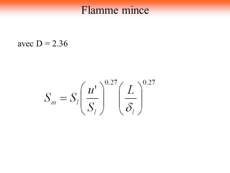 Flamme mince avec D = 2.36