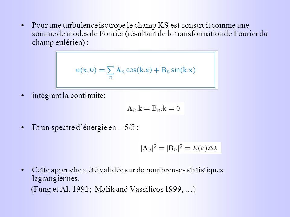 Pour une turbulence isotrope le champ KS est construit comme une somme de modes de Fourier (résultant de la transformation de Fourier du champ eulérie