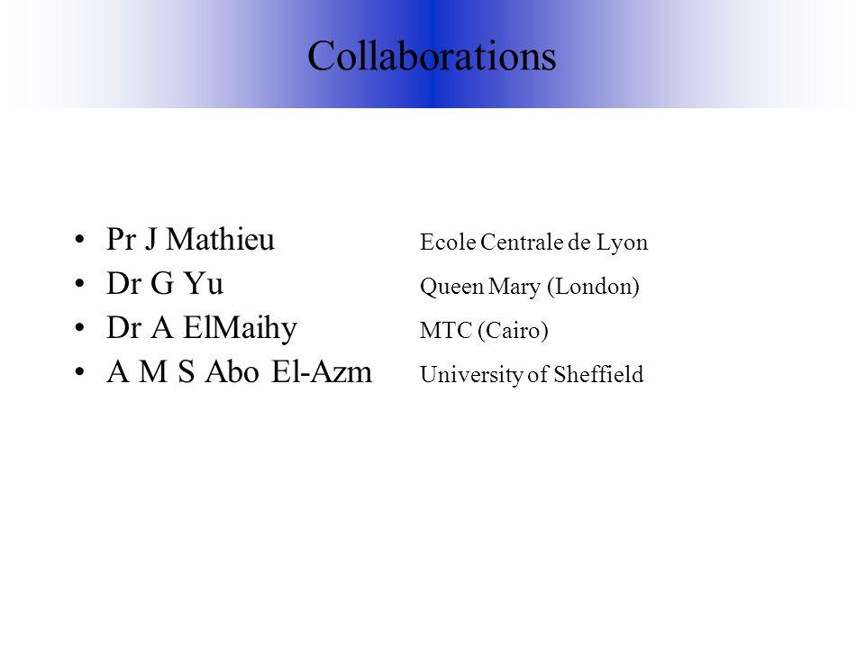 Collaborations Pr J Mathieu Ecole Centrale de Lyon Dr G Yu Queen Mary (London) Dr A ElMaihy MTC (Cairo) A M S Abo El-Azm University of Sheffield
