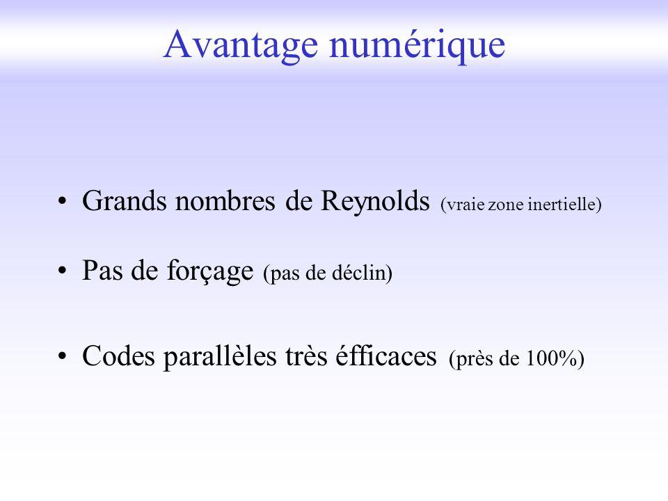 Grands nombres de Reynolds (vraie zone inertielle) Pas de forçage (pas de déclin) Codes parallèles très éfficaces (près de 100%) Avantage numérique