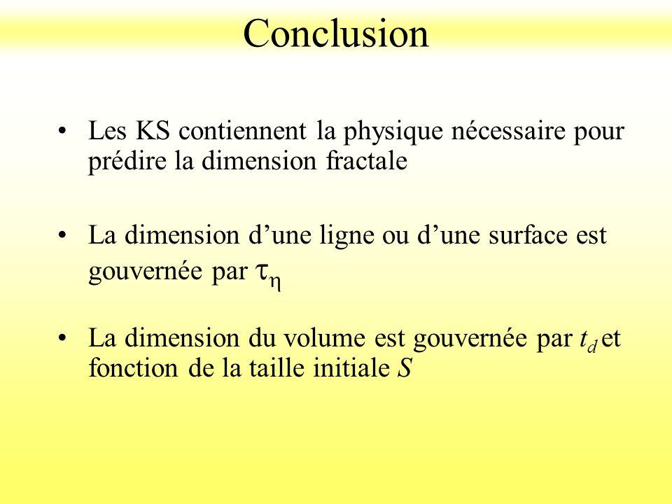 Les KS contiennent la physique nécessaire pour prédire la dimension fractale La dimension dune ligne ou dune surface est gouvernée par t h La dimensio