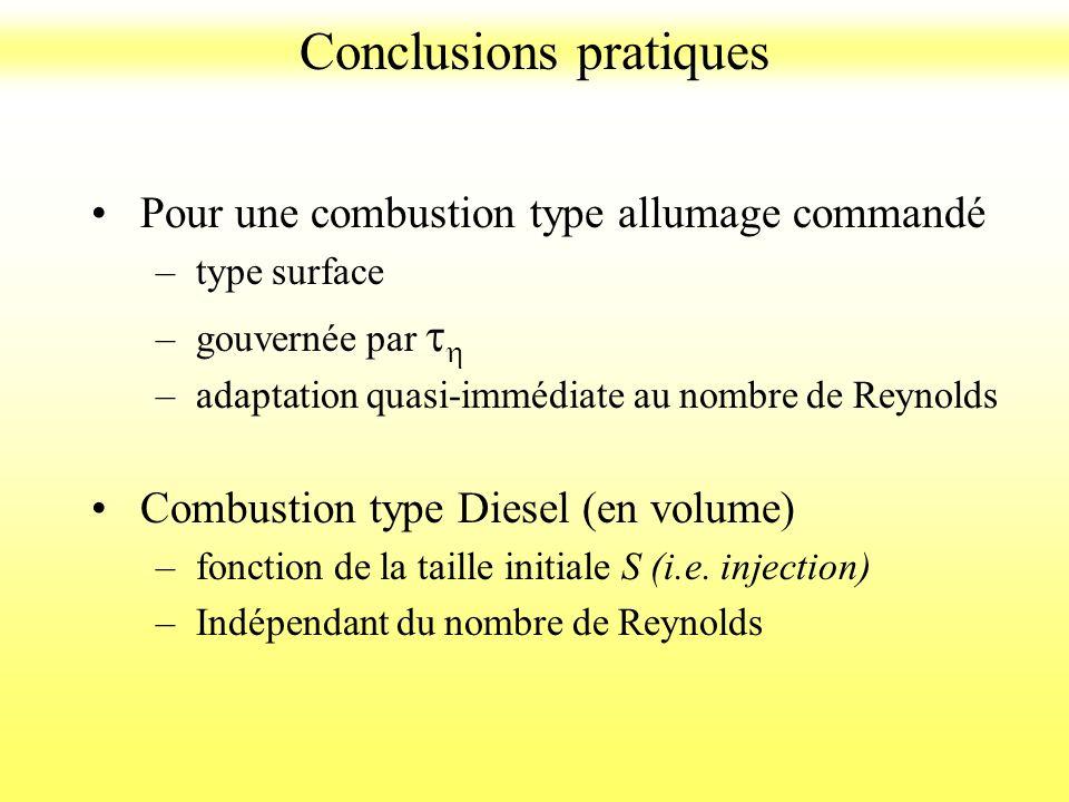 Pour une combustion type allumage commandé –type surface –gouvernée par t h –adaptation quasi-immédiate au nombre de Reynolds Combustion type Diesel (