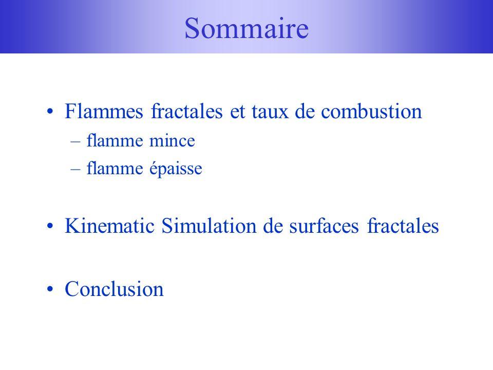 Flammes fractales et taux de combustion –flamme mince –flamme épaisse Kinematic Simulation de surfaces fractales Conclusion Sommaire