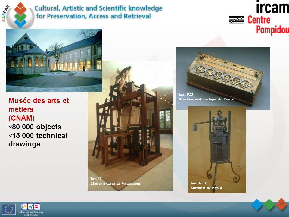 Inv. 823 Machine arithmétique de Pascal Inv.17 Métier à tisser de Vaucanson Inv. 1631 Marmite de Papin Musée des arts et métiers (CNAM) 80 000 objects