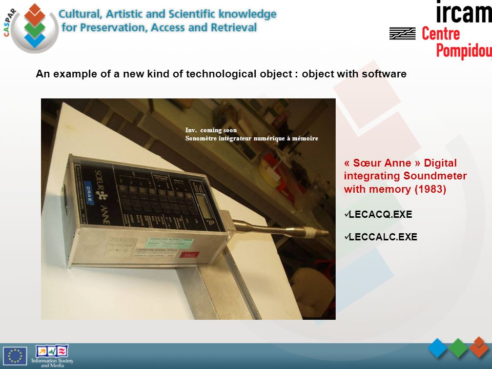 An example of a new kind of technological object : object with software Inv.