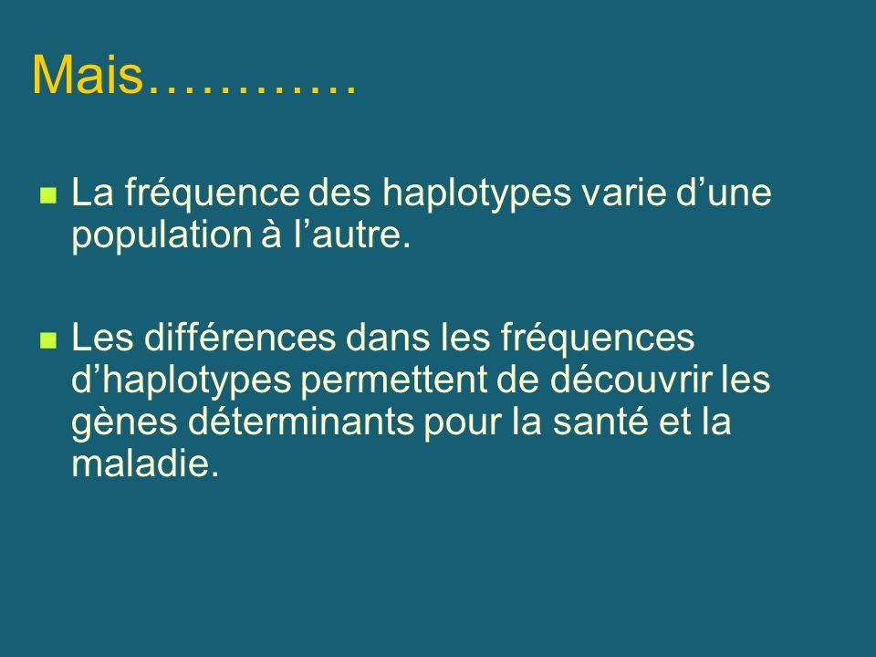 Mais………… La fréquence des haplotypes varie dune population à lautre. Les différences dans les fréquences dhaplotypes permettent de découvrir les gènes