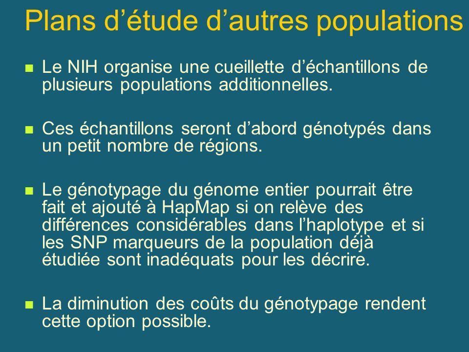 Plans détude dautres populations Le NIH organise une cueillette déchantillons de plusieurs populations additionnelles. Ces échantillons seront dabord