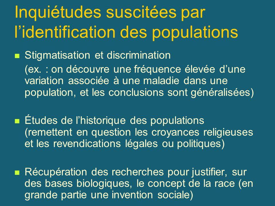 Inquiétudes suscitées par lidentification des populations Stigmatisation et discrimination (ex. : on découvre une fréquence élevée dune variation asso
