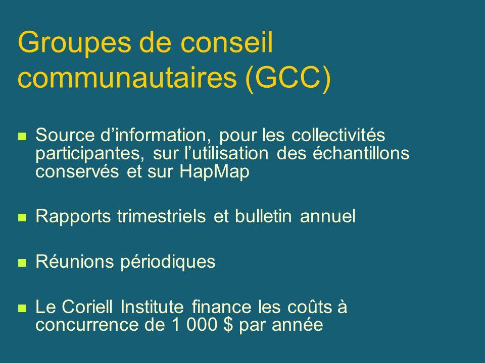 Groupes de conseil communautaires (GCC) Source dinformation, pour les collectivités participantes, sur lutilisation des échantillons conservés et sur