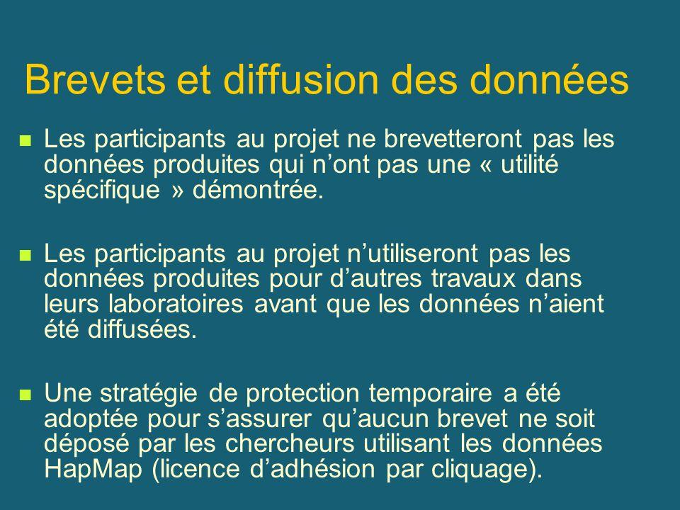 Brevets et diffusion des données Les participants au projet ne brevetteront pas les données produites qui nont pas une « utilité spécifique » démontré
