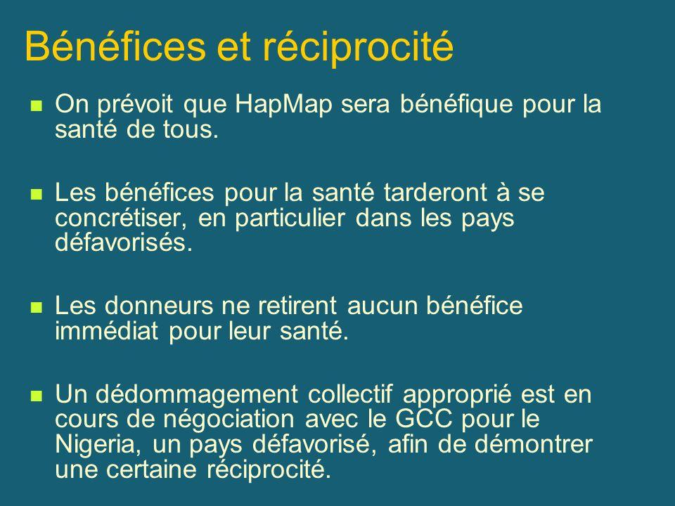 Bénéfices et réciprocité On prévoit que HapMap sera bénéfique pour la santé de tous. Les bénéfices pour la santé tarderont à se concrétiser, en partic