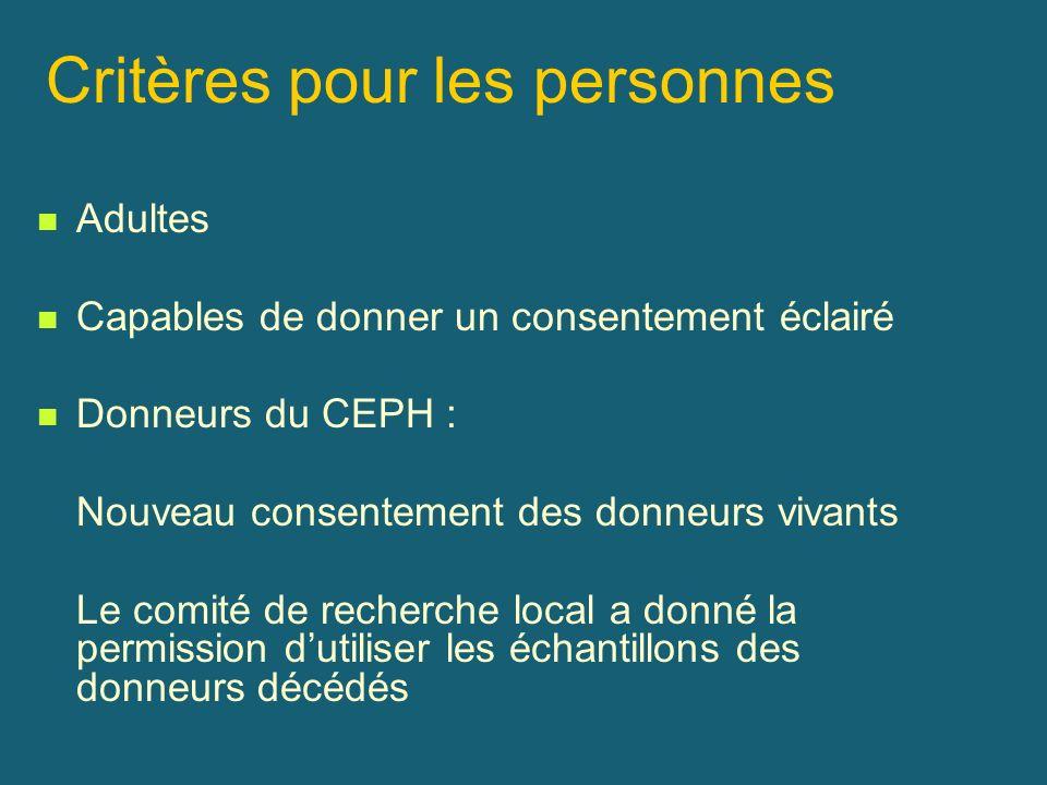 Critères pour les personnes Adultes Capables de donner un consentement éclairé Donneurs du CEPH : Nouveau consentement des donneurs vivants Le comité