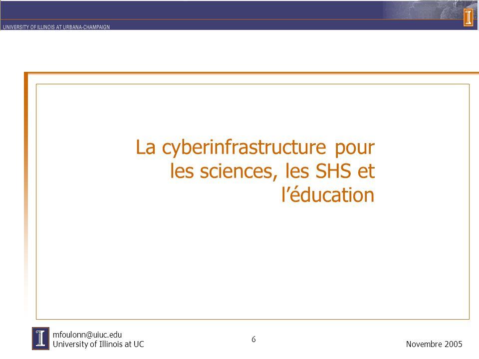 6 Novembre 2005 mfoulonn@uiuc.edu University of Illinois at UC La cyberinfrastructure pour les sciences, les SHS et léducation