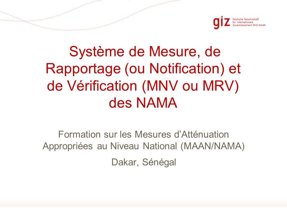 Page 1 Formation sur les Mesures dAtténuation Appropriées au Niveau National (MAAN/NAMA) Dakar, Sénégal Système de Mesure, de Rapportage (ou Notificat