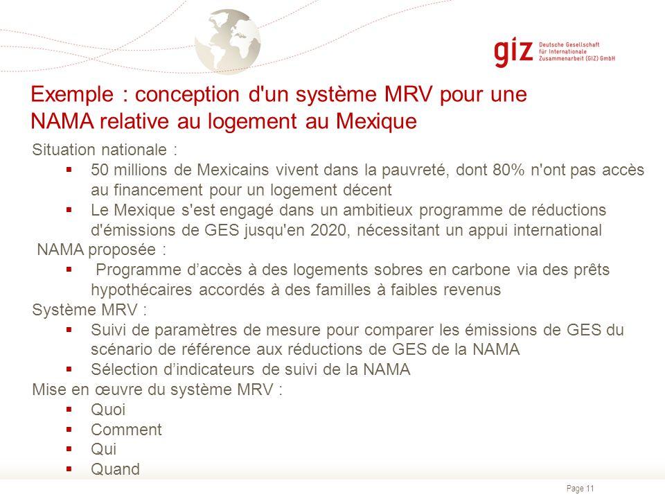 Page 11 Exemple : conception d'un système MRV pour une NAMA relative au logement au Mexique Situation nationale : 50 millions de Mexicains vivent dans