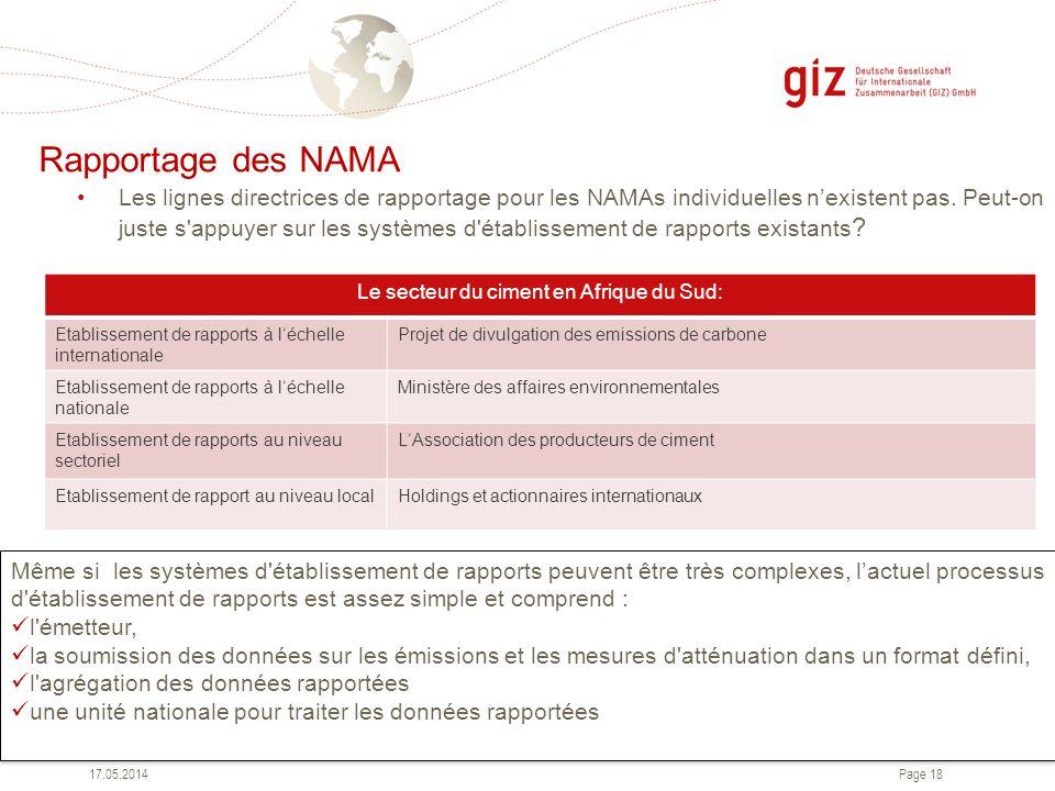 Page 18 Rapportage des NAMA 17.05.2014 Le secteur du ciment en Afrique du Sud: Etablissement de rapports à léchelle internationale Projet de divulgati