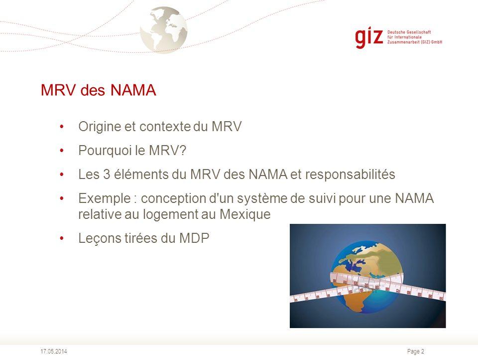 Page 2 MRV des NAMA Origine et contexte du MRV Pourquoi le MRV? Les 3 éléments du MRV des NAMA et responsabilités Exemple : conception d'un système de