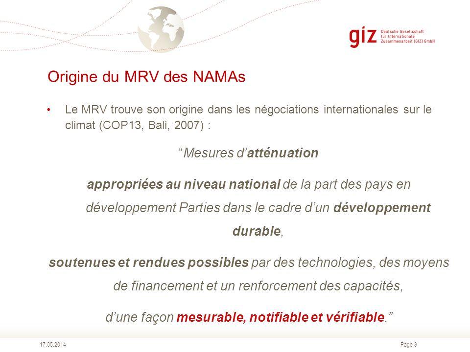 Page 3 Origine du MRV des NAMAs 17.05.2014 Le MRV trouve son origine dans les négociations internationales sur le climat (COP13, Bali, 2007) : Mesures