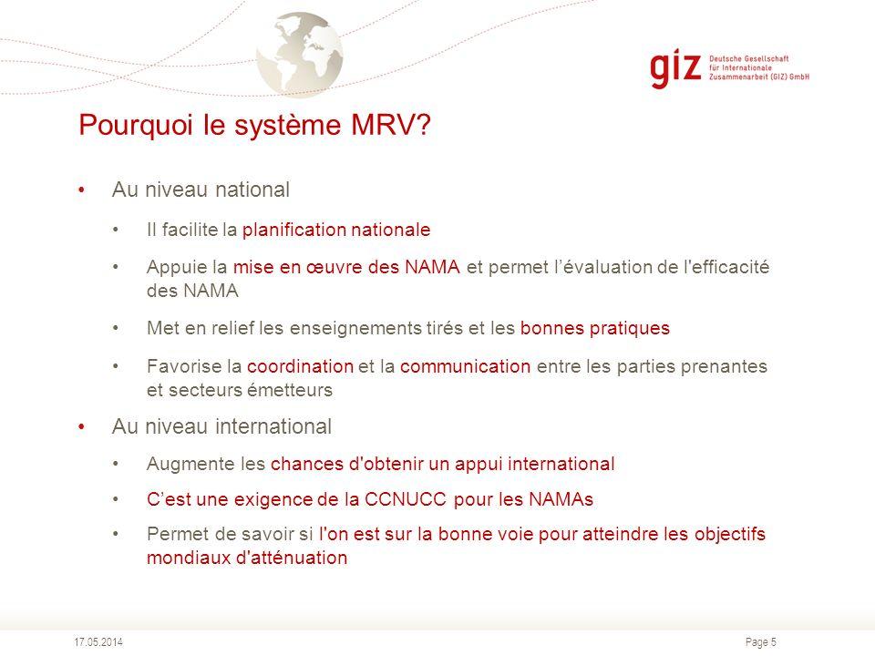 Page 5 Pourquoi le système MRV? Au niveau national Il facilite la planification nationale Appuie la mise en œuvre des NAMA et permet lévaluation de l'