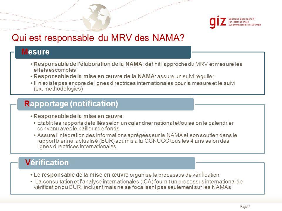 Page 7 Qui est responsable du MRV des NAMA? Responsable de lélaboration de la NAMA: définit l'approche du MRV et mesure les effets escomptés Responsab