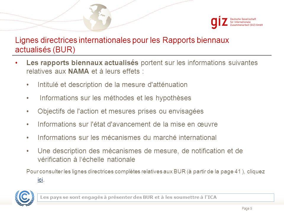 Page 9 Lignes directrices internationales pour les Rapports biennaux actualisés (BUR) Les rapports biennaux actualisés portent sur les informations su