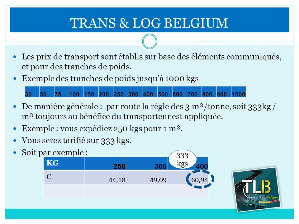Les prix de transport sont établis sur base des éléments communiqués, et pour des tranches de poids. Exemple des tranches de poids jusquà 1000 kgs De