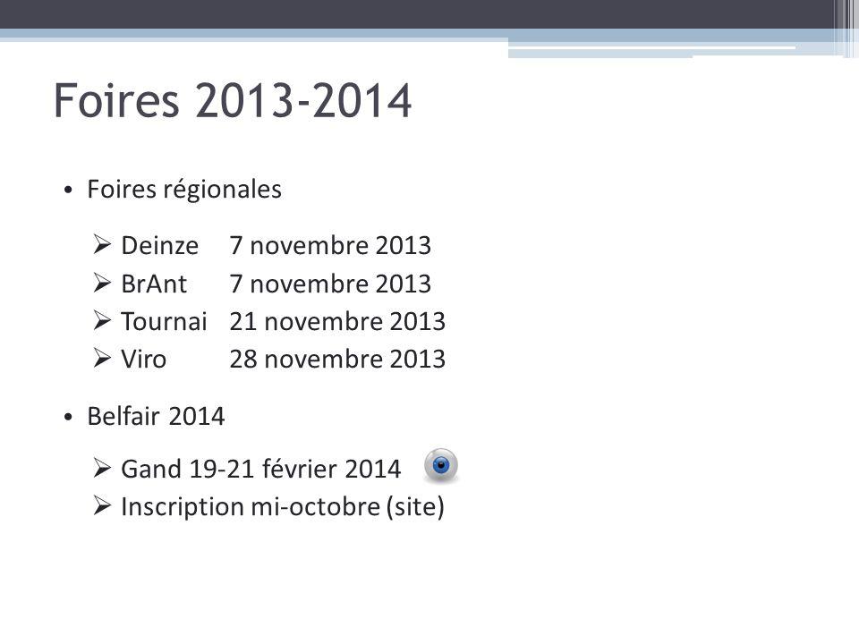 Foires 2013-2014 Foires régionales Deinze7 novembre 2013 BrAnt7 novembre 2013 Tournai21 novembre 2013 Viro 28 novembre 2013 Belfair 2014 Gand 19-21 fé
