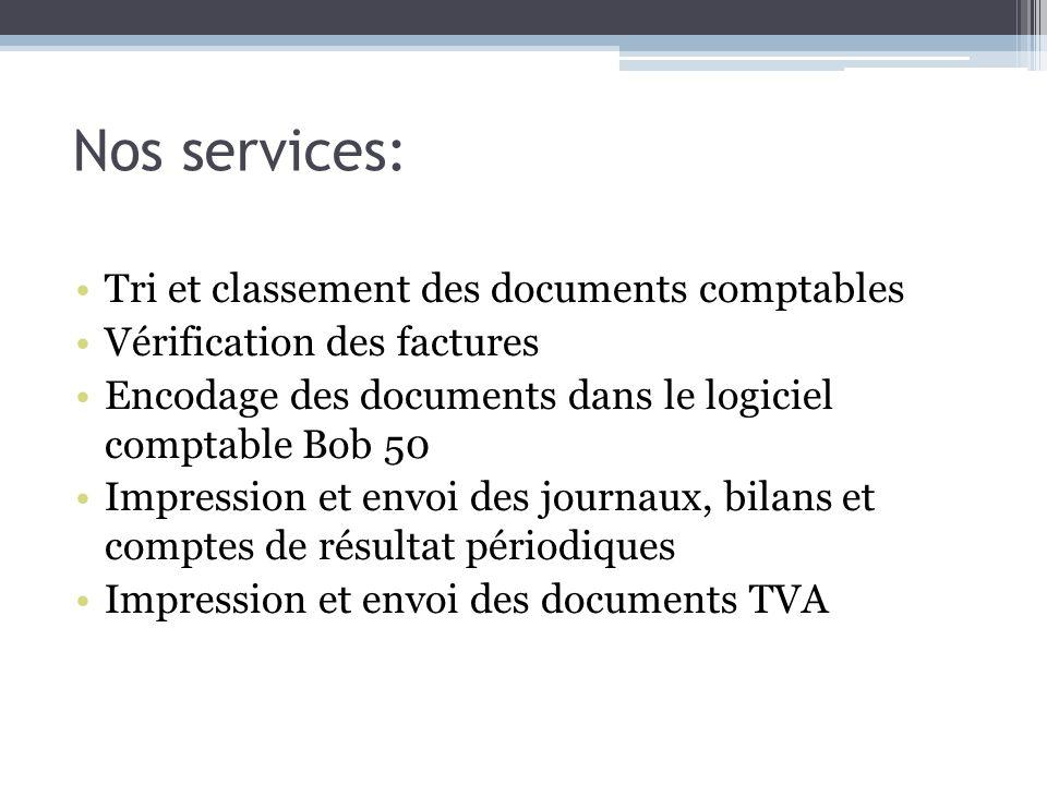 Nos services: Tri et classement des documents comptables Vérification des factures Encodage des documents dans le logiciel comptable Bob 50 Impression