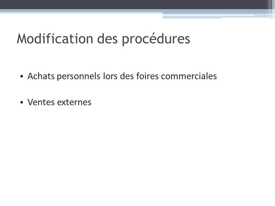 Modification des procédures Achats personnels lors des foires commerciales Ventes externes