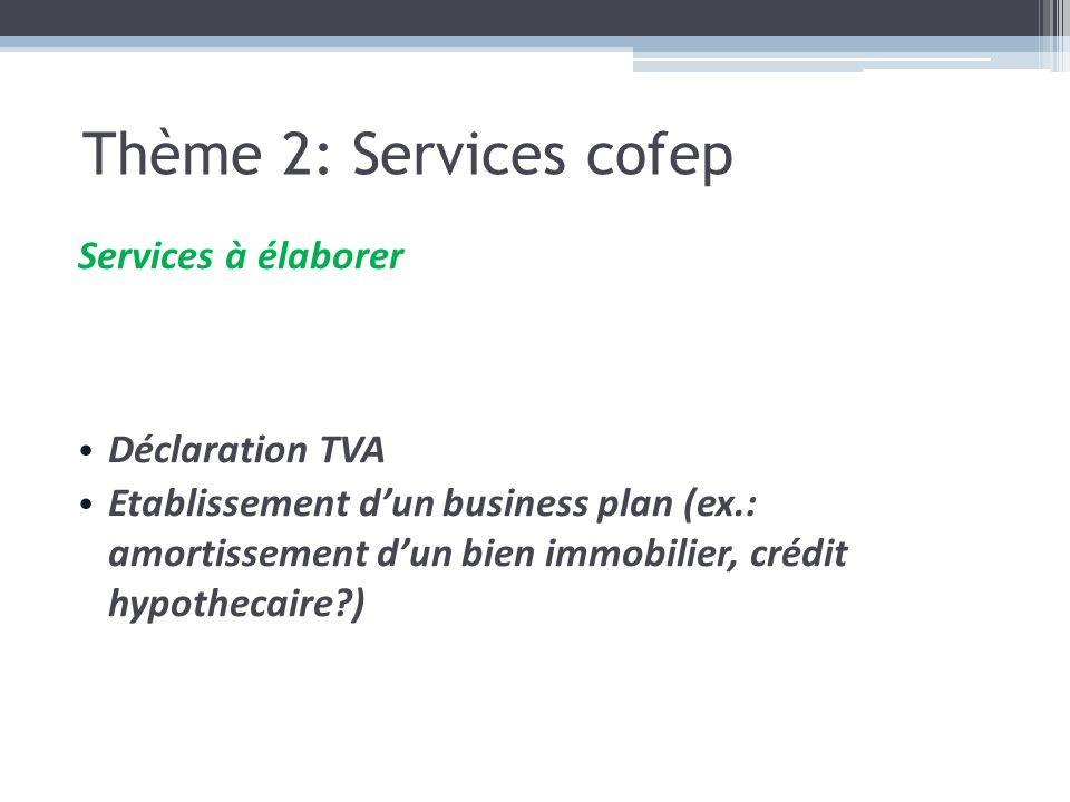 Services à élaborer Déclaration TVA Etablissement dun business plan (ex.: amortissement dun bien immobilier, crédit hypothecaire?) Thème 2: Services c