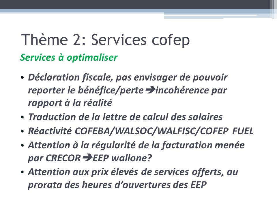 Services à optimaliser Déclaration fiscale, pas envisager de pouvoir reporter le bénéfice/perte incohérence par rapport à la réalité Traduction de la