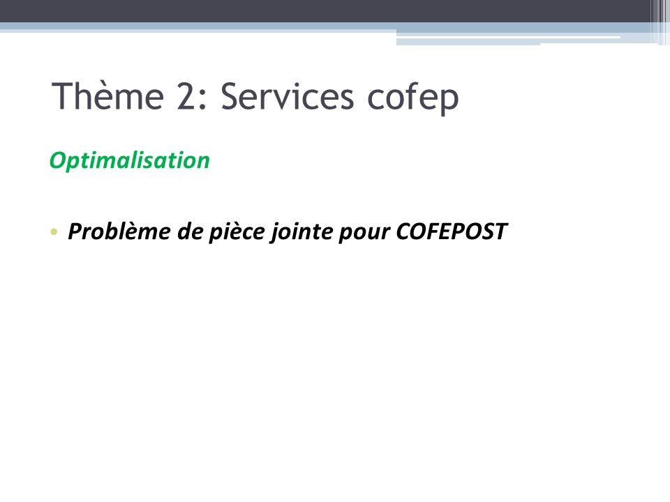 Optimalisation Problème de pièce jointe pour COFEPOST Thème 2: Services cofep