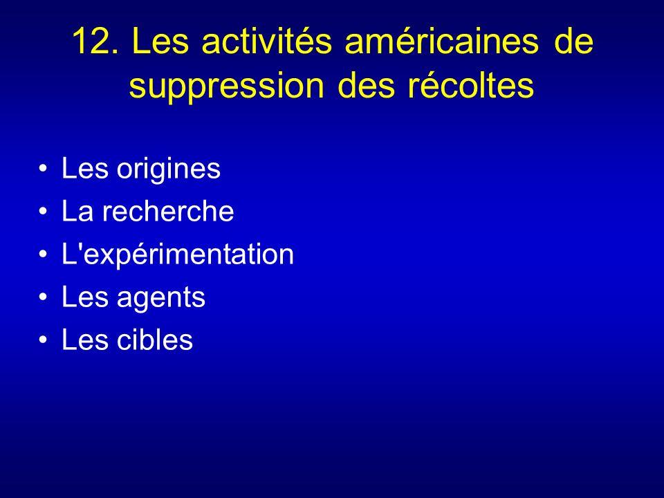 12. Les activités américaines de suppression des récoltes Les origines La recherche L'expérimentation Les agents Les cibles