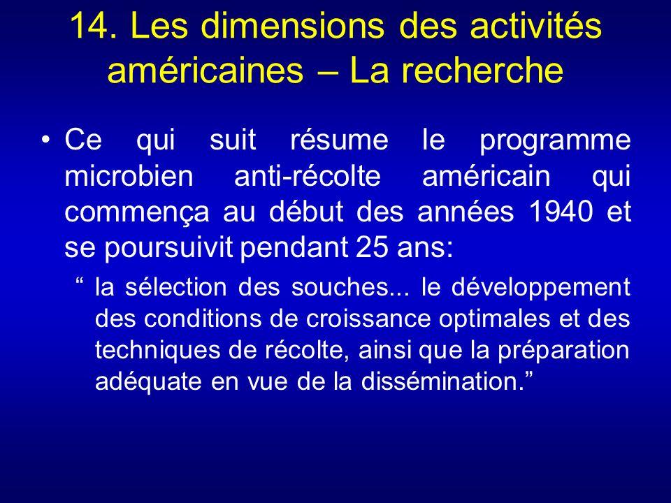 14. Les dimensions des activités américaines – La recherche Ce qui suit résume le programme microbien anti-récolte américain qui commença au début des