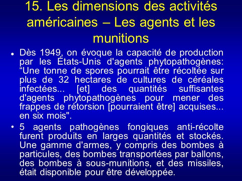 15. Les dimensions des activités américaines – Les agents et les munitions Dès 1949, on évoque la capacité de production par les États-Unis d'agents p