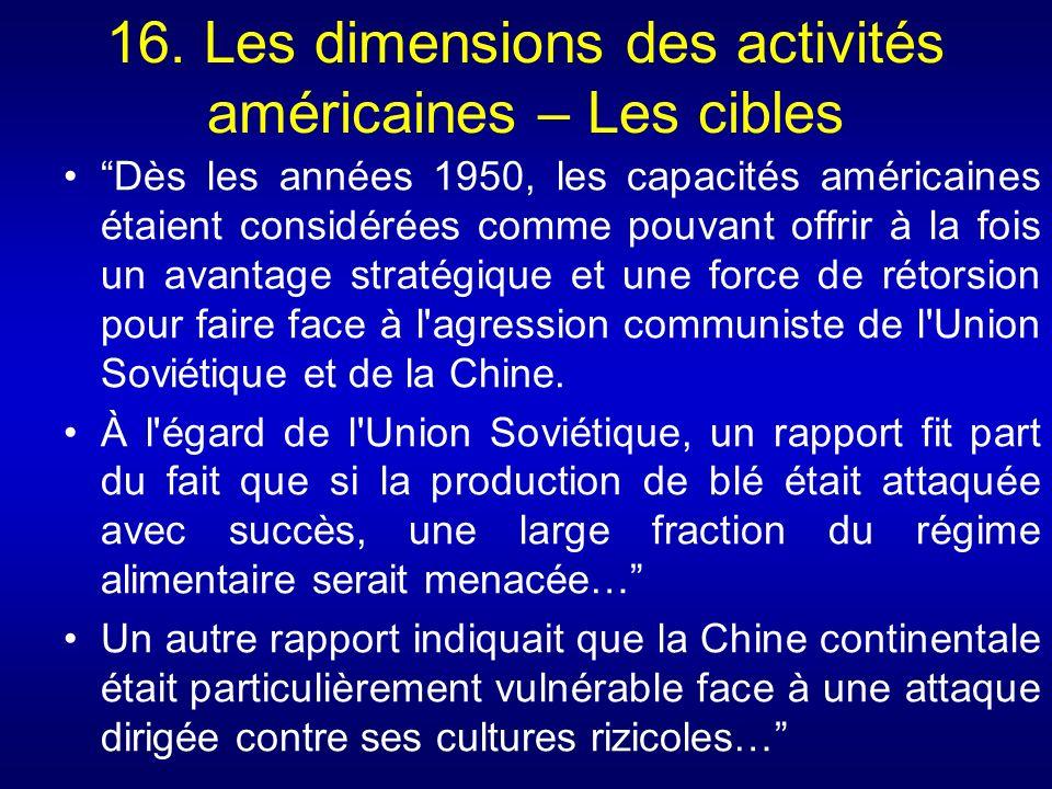 16. Les dimensions des activités américaines – Les cibles Dès les années 1950, les capacités américaines étaient considérées comme pouvant offrir à la